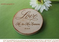 50 Custom Save the date/Wedding Favor Wood Magnets LOVE theme-custom made on Etsy, $86.00