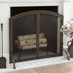 Charlton Home Elmsley Single Panel Steel Fireplace Screens & Reviews | Wayfair Fireplace Screens With Doors, Wrought Iron Fireplace Screen, Wooden Fireplace, Tall Fireplace, Home Fireplace, Decorative Fireplace, Fireplace Cover Up, Hanging Fireplace, Fireplace Hearth