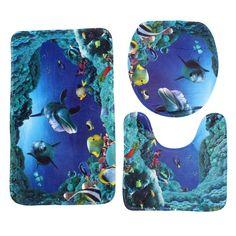 3Pcs Sea World Design Pedestal Rug Bath Mat Flannel Seashell Contour Pedestal Rug Lid Toilet Cover Carpet Bathroom Set