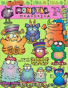 Borders, name tags, bookmarks & clip art to theme your classroom with monsters by Dianne J Hook.