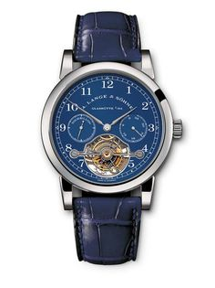 """This A. Lange & Söhne Tourbillon """"Pour le Mérite"""" features a very rare combination of a white gold case and a blue dial. The German-made watch was part of a limited edition of 200, only 19 of which came in white gold."""
