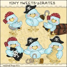 Tiny Tweets Pirates 1 - Whimsical Clip Art by Cheryl Seslar