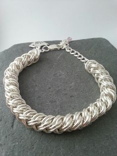Sterling silver chain maille plait bracelet by Grace Owen