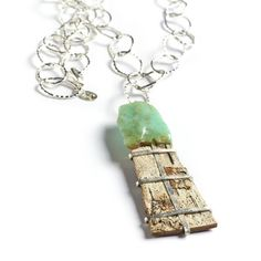 Tessoro Necklace - Natural Birchbark, Chrysoprase and Hand Hammered Sterling Silver from Virtual Treasure Chest