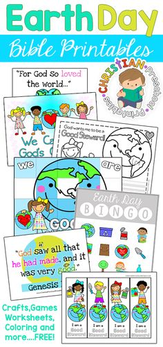 Tons of free Earth Day Bible Printables for lessons in stewardship.  Caring for God's creation is an important topic for children of all ages.  Use these scripture cards, worksheets, games and crafts in your homeschool or Sunday school classroom.  Free!