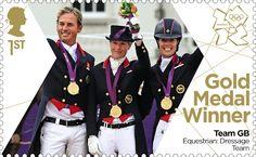 Gold Medal Winner stamp #20 - Equestrian: Dressage Team, Carl Hester, Laura Bechtolsheimer and Charlotte Dujardin.