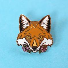 Red Fox with flowers, enamel pin - fox - purple flowers - cute wildlife - fox pin - fox gift - pin badge - flair - lapel pin Fox Decor, Cat Crafts, Hard Enamel Pin, Cute Pins, Red Fox, Colored Paper, Pin Badges, Lapel Pins, Purple Flowers