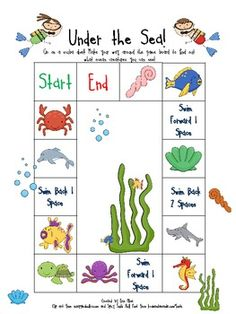 UNDER THE SEA GAME BOARD - TeachersPayTeachers.com