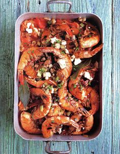 Baked Shrimp with Tomatoes & Feta, a seafood combination with #shallots and #fennel seeds to bake together