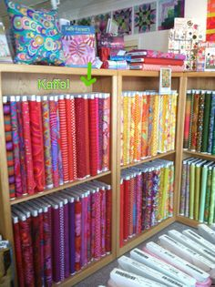Fairly Merry quilt shop Pinning for inspiration My Sewing Room, Sewing Rooms, Fabric Display, Opening A Boutique, Retail Store Design, Miniature Quilts, Craft Room Storage, Store Displays, Fabric Shop