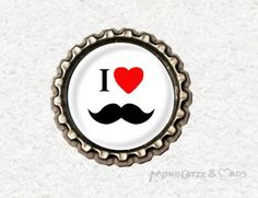 -s032- Kronkorken Magnet I LOVE MOUSTACHE, € 2,80 , bottlecap , erhältlich auf http://de.dawanda.com/shop/Mondcatze