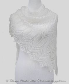 Shawl for wedding white hand knit lace wrap scarf gift by Otruta