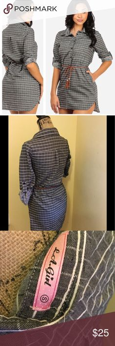 Plaid Long Sleeve Belted Tunic Shirt (Size:  S) New....This shirt runs small.  Half-button placket Plaid color pattern Roll-up sleeves Materials: 65% polyester, 35% cotton Tops Tunics