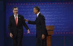 52 10/3/12 President Barack Obama and former Massachusetts Governor Mitt Romney after the presidential debate Wednesday, October 3, 2012 at the University of Denver. John Leyba, The Denver Post