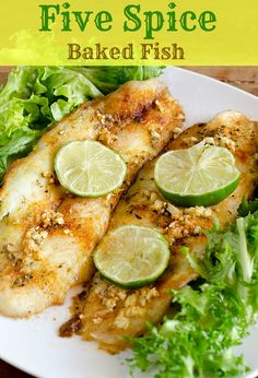 One part of a heart-healthy diet, for moms and kiddos - make sure to add fish into your meals several times a week.This 5 spice baked fish is a yummy, easy go-to meal! Fish Dishes, Seafood Dishes, Fish And Seafood, Seafood Recipes, Main Dishes, Healthy Recipes, Quick Recipes, Cooking Recipes, Best Fish Recipes