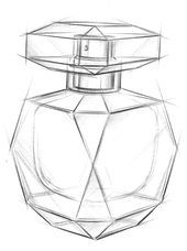 """sketch that brought Le Parfum to life. """"I wanted something simple, straight lines, the rigor of a cube and the sensation of an object made to be held in the hand, but with the density of beautiful objects. Interior Design Sketches, Industrial Design Sketch, Fashion Design Sketches, Sketch Design, Pencil Art Drawings, Art Drawings Sketches, Bottle Drawing, Perspective Art, Object Drawing"""