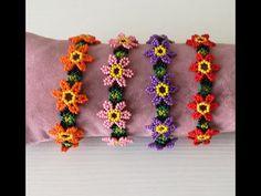 Seed Bead Tutorials, Beading Tutorials, Beaded Jewelry Patterns, Bracelet Patterns, Beaded Flowers, Crochet Flowers, Crochet Flower Tutorial, Hand Work Embroidery, Bead Crochet Rope