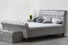 The beautiful St James Diamante Silver Crushed Velvet Chesterfield Sleigh Bed with Diamante Studded Foot board & headboard. Available in Double & King Sizes. Crushed Velvet Double Bed, Silver Crushed Velvet Bed, Cheap Beds For Sale, Bed Sets For Sale, Ottoman Bed, Upholstered Beds, Chesterfield Bed, Silver Bedding, Tall Bed