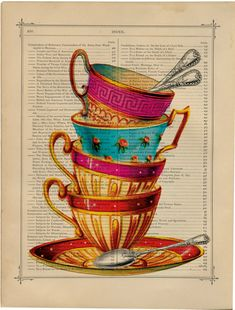 Tea cups vintage book page print on a page by PixelArtPrints, $7.99