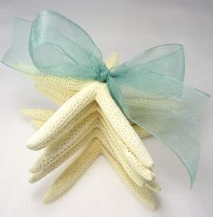 Beach Decor 6PC White Starfish Gift Set - Nautical Decor Gift Set of 6 Finger Starfish, Aqua Ribbon on Etsy, $12.00
