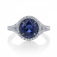 Omi Privé Sapphire and Diamond Double Halo Ring. Fall in love with a sapphire halo! Style RC1480-SARD