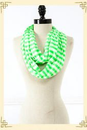 Striped Neon Infinity Scarf in Green