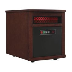 1500-Watt 6-Element Infrared Quartz Electric Portable Heater with Remote Control - Cherry (Red)