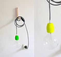 Textile cable lamp with switch and plug - neon. Lacasadecoto/etsy