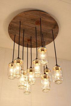 Mason Jar Chandelier Mason Jar lighting by Bornagainwoodworks @ http://lightingworldbay.com #lighting