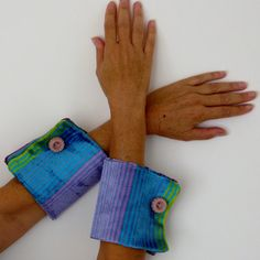 Turquoise   violet green Wrist Wrap removable by vquadroitaly