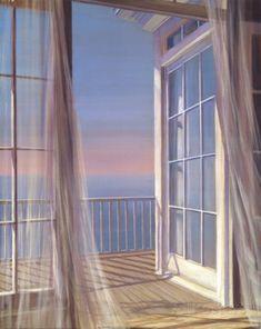 Sea Breeze through French Windows Window View, Open Window, Window Art, Zoom Wallpaper, Foto 3d, French Windows, French Doors, Through The Window, Summer Breeze