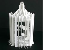 Collapsible Paper Birdcage by Kevin Steele. Handcut paper sliceform