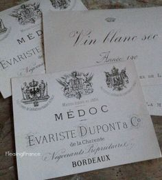 FleaingFrance.....French Winery Labels-Set of 4 Vintage Wine, Vintage Labels, French Vintage, Caves, Bordeaux, Wine Making Process, French Wine, Old Signs, Vintage Designs