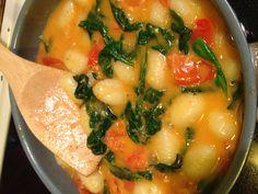 Gnocchi w/fresh tomato sauce.   Boil Gnocchi.  In 2TB Olive oil, 4TB butter, saute 6 fresh Campari tomatoes chopped, handful of fresh spinach, 1clove chopped garlic, 4oz fresh grated Parmesan.  Add gnocchi. season to taste & ENJOY!