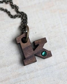 Choose any letter! Initial necklace with birthstone by TinyWhaleStudio on Etsy, $18.00 Tiny Whale Studio