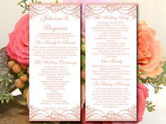 "DIY Wedding Program Template - Tea Length Program Flourish Coral ""Exquisite"" Order of Ceremony - Printable Wedding Template Order of Service by PaintTheDayDesigns on Etsy"