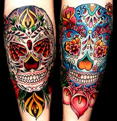 One tattoo design that you may want to consider is the sugar skull tattoo. Sugar skull tattoos are not a main stream tattoo, but they do have a popularity. Sugar skulls are a proud symbol of the Mexican culture. Sugar skull tattoo designs can be. Skull Candy Tattoo, Candy Skulls, Skull Tattoos, Body Art Tattoos, Sugar Skulls, Thigh Tattoos, Tatoos, Sugar Skull Design, Skull Tattoo Design