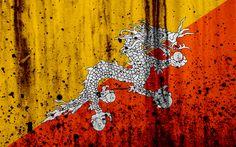 Download wallpapers Butaneflag, 4k, grunge, flag of Butane, Asia, Butane, national symbols, Butane national flag