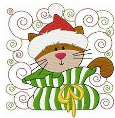 Christmas Kitties Block Set, 12 Designs - 4x4 | Christmas | Machine Embroidery Designs | SWAKembroidery.com Fun Stitch