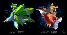 Amazing Pokefusions by the talented artist Josi! Pokemon Fusion, Cool Pokemon, Pokemon Sun, Pokemon Chart, Pokemon Memes, Mega Evolution Pokemon, Otaku, Blog Banner, Sons