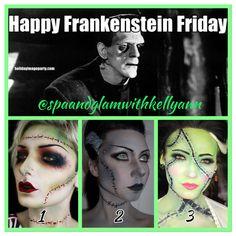 I LOVE Halloween Makeup 🎃💄🤡 Today is #NationalFrankensteinFriday!!! ✅ What #BrideOfFrankenstein look below 👇🏻 is your favorite?   #Beautyinnovator #spaandglamwithkellyann #Halloween #HalloweenGlam #lookfrightfullyfantastic #HalloweenMakeup