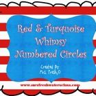 $1.00 This set includes red  turquoise whimsical numbered circles to create library bin markers or to use in your classroom.