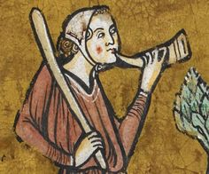 """Portrait detail from British Library Royal MS 12 F XIII """"The Rochester Bestiary"""" (c 1230-14th century), f17r"""