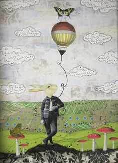 Afternoon Balloon.  ::   Original frame collage on wood panel.  by Sarah Ogren