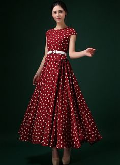 b95b3e0df9 Heart Printed Wine Red Maxi Dress with Layer-pleated Waist RM293