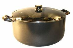 Alpha 24 Qt Quart Non-Stick Aluminum Stock Pot with Glass Lid by Alpha. $79.99. Riveted Bakelite & Stainless Handles. 3 Layer Nonstick Chemflon Silver Metallic Interior.. Quality Heavy Gauge Aluminum Stock Pot. Heat Resistant Tempered Glass Lid with Air Vent. Heat Resistant for up to 300° F.. Cook enough for the whole family with this large versatile pot.  Great for making chili, stews, large quantity sauces, casseroles,  boiling foods and slow-simmering soup to perfect...