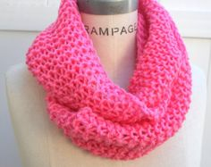 Knit Scarf  Pink Hand Knit Infinity Scarf Women Scarves Winter Scarf Knit  Neckwarmer - By PIYOYO
