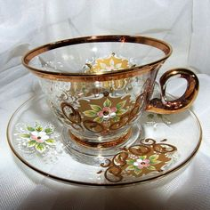 Vintage Art Glass /Cup and Saucer