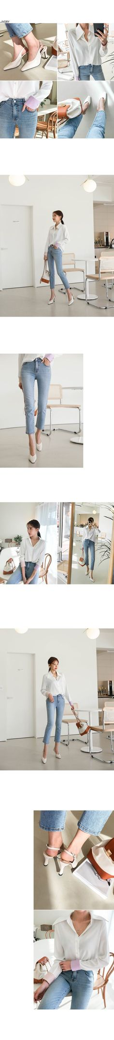 Contrast Cuff Button-Up Shirt - 1 like blouse summer blouse style blouse ideas Korean Blouse, Frill Blouse, Korean Fashion Online, Blouse Models, Blouse Styles, Green Colors, Button Up Shirts, Contrast, Buttons
