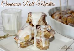 Cinnamon Roll Middles! one tube of refrigerated cinnamon rolls, cut into pieces and brushed with melted butter, then baked and smothered in creamy vanilla glaze